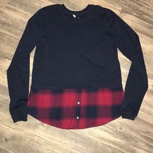 Girls Longsleeve Shirt w/ faux Flannel Undershirt